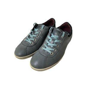 ECCO Blue/Gray Leather Fashion Sneakers